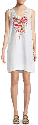 Johnny Was Adeline Sleeveless Side-Button Linen Tunic Dress