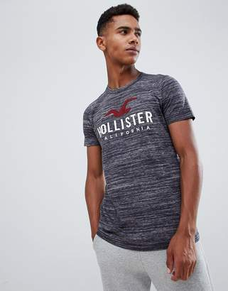 Hollister muscle fit t-shirt tech logo in black marl