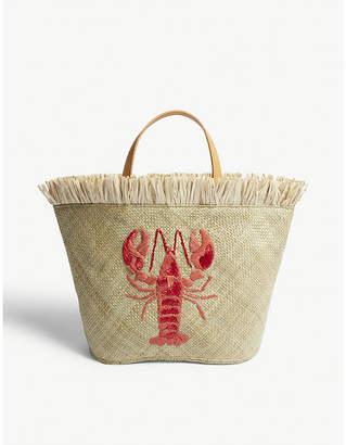 Aranaz Red Woven Tikog Lobster Tote Bag
