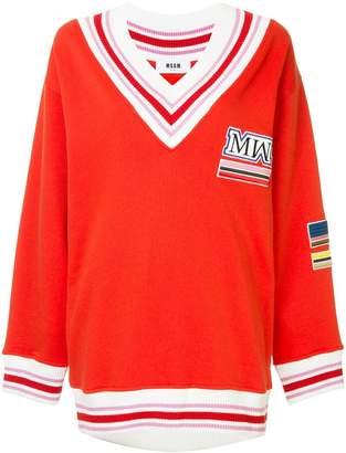 MSGM striped V-neck sweater