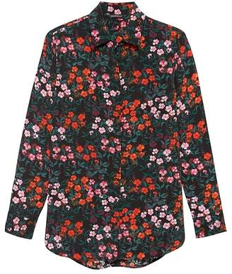 Banana Republic Parker Tunic-Fit Floral Washable Silk Shirt