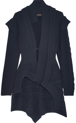 Burberry - Cable Knit-paneled Ribbed Wool And Cashmere-blend Cardigan - Navy