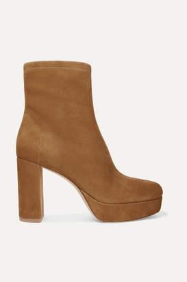 Diane von Furstenberg Yasmine Suede Platform Ankle Boots - Brown
