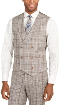 Tallia Men's Slim-Fit Brown Plaid Flannel Double-Breasted Suit Vest
