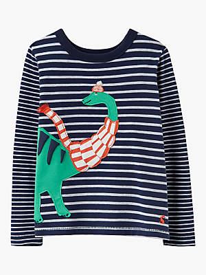 Joules Little Joule Boys' Jack Dinosaur Stripe T-Shirt, Navy