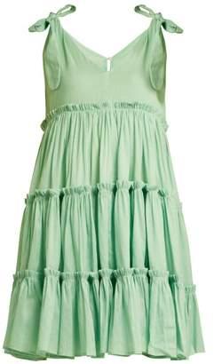 Innika Choo Tiered Ruffle Trimmed Ramie Mini Dress - Womens - Green
