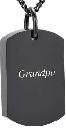 Keepsake Yinplsmemory Grandpa Carved Dog Tag Cremation Necklace Ashes Urn Pendant