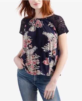Lucky Brand Crochet-Sleeve Floral-Print Top
