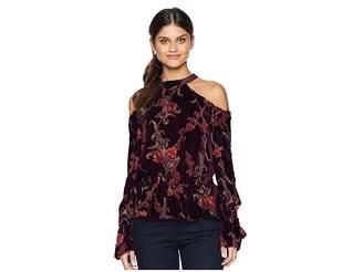 J.o.a. Velvet Cold Shoulder Top Women's Clothing