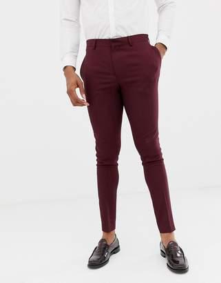 Asos Design DESIGN wedding super skinny suit pants in burgundy micro texture