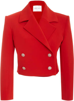 Carmen March Cropped Double-Breasted Piqué Blazer