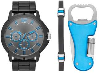 Unbranded Men's Gun Metal Watch Gift Set with Multi-Tool