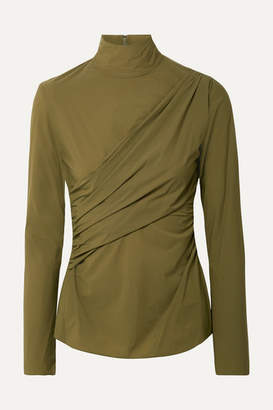 Sies Marjan - Peyton Ruched Stretch-jersey Turtleneck Top - Army green