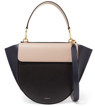 Hortensia Wandler Medium Color-block Leather Shoulder Bag - Midnight blue