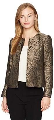 Kasper Women's Petite Foil Printed Jacquard Fly Away Jacket
