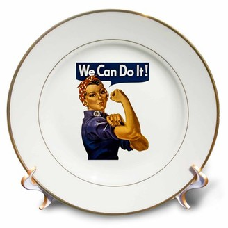3dRose Vintage Rosie the Riveter WWII American Feminist Icon We Can Do It - Porcelain Plate, 8-inch