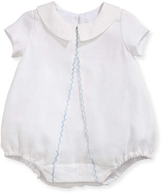 Isabel Garreton Joseph Linen Embroidered Bodysuit, White/Blue, Size 3-24 Months