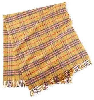 Burberry Cashmere Vintage Check Baby Blanket, Golden Peach