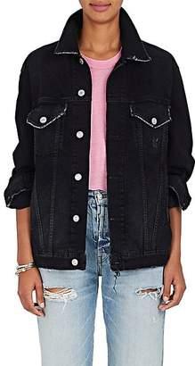 Adaptation Women's Warren Lotas Painted-Back Denim Jacket - Black Size S