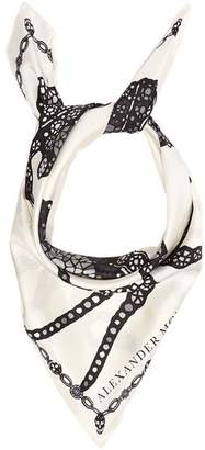 Alexander McQueen Spider And Jewel Print Silk Scarf - Womens - Ivory
