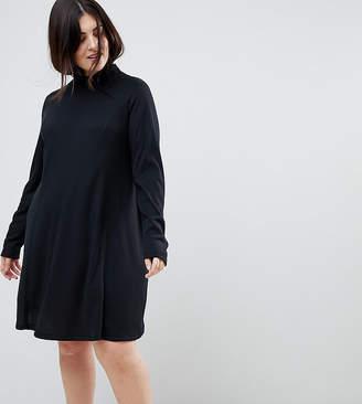 Asos Swing Dress in Rib with Turtleneck & Long Sleeve