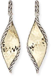 John Hardy 18k Classic Chain Hammered Wave Drop Earrings