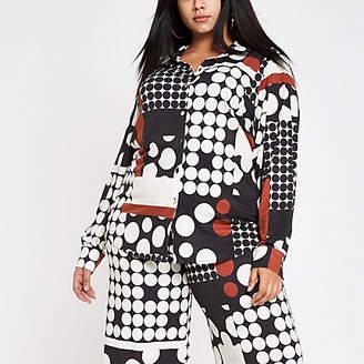 7d6d13da163 River Island Womens Plus Cream spot print long sleeve shirt