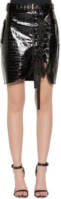 Self-Portrait Croc Embossed Faux Leather Lace-Up Skirt