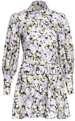 Zimmermann Floral Blouson-Sleeve Linen Shirtdress