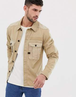 G Star G-Star Bromid long sleeve utility overshirt in stone