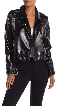 Nicole Miller New York Stitch Faux Leather Moto Jacket