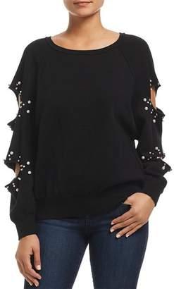 Elan International Embellished Cutout Sleeve Sweater
