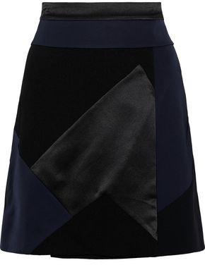 Victoria Victoria Beckham Victoria, Victoria Beckham Patchwork Satin And Crepe Mini Skirt