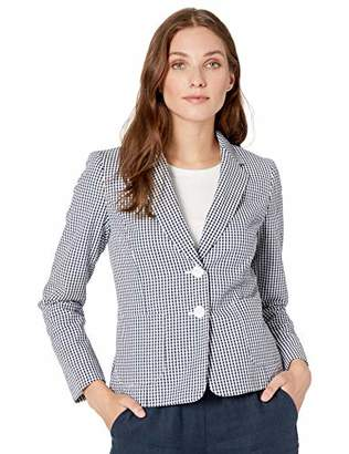 Nine West Women's 2 Button Notch Collar Gingham Jacket