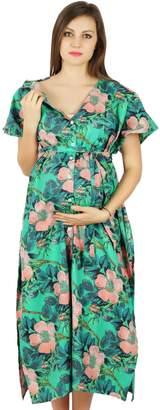 Bimba Floral Cotton Kaftan Maternity Gown Front Buttons Nursing Moms kaftans