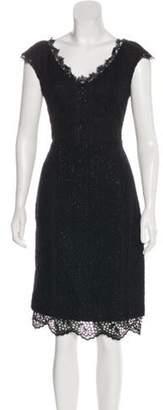 Oscar de la Renta Metallic Midi Dress Black Metallic Midi Dress