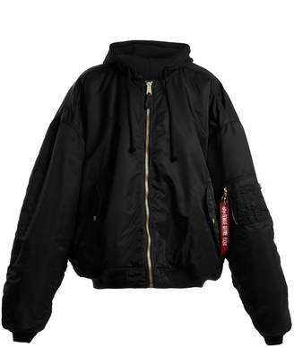 Oversized reversible hooded bomber jacket