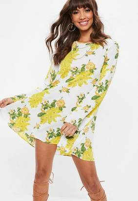 Missguided White Floral Print Floaty Swing Dress