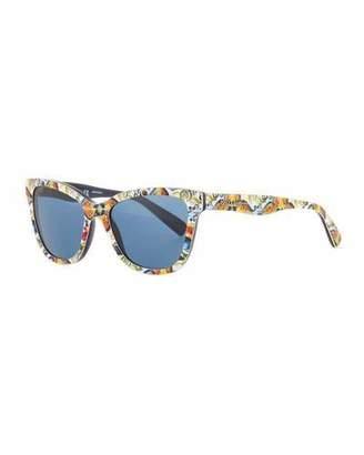 Dolce & Gabbana Girls' Floral Majolica Square Sunglasses, Blue/Multicolor $130 thestylecure.com