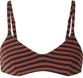 Solid & Striped The Rachel Striped Ribbed Bikini Top - Black