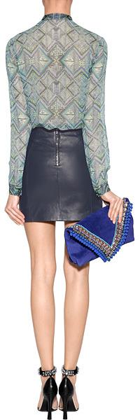 Matthew Williamson Blue Paneled Mini Leather Skirt