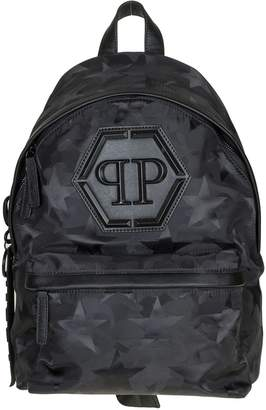 Philipp Plein Backpack Fabric Comouflage With Stars Black Color
