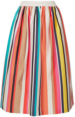 Alice + Olivia - Nikola Striped Stretch-cotton Poplin Midi Skirt - Ivory $440 thestylecure.com