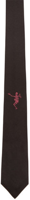 Alexander McQueen Black and Pink Dancing Skeleton Tie