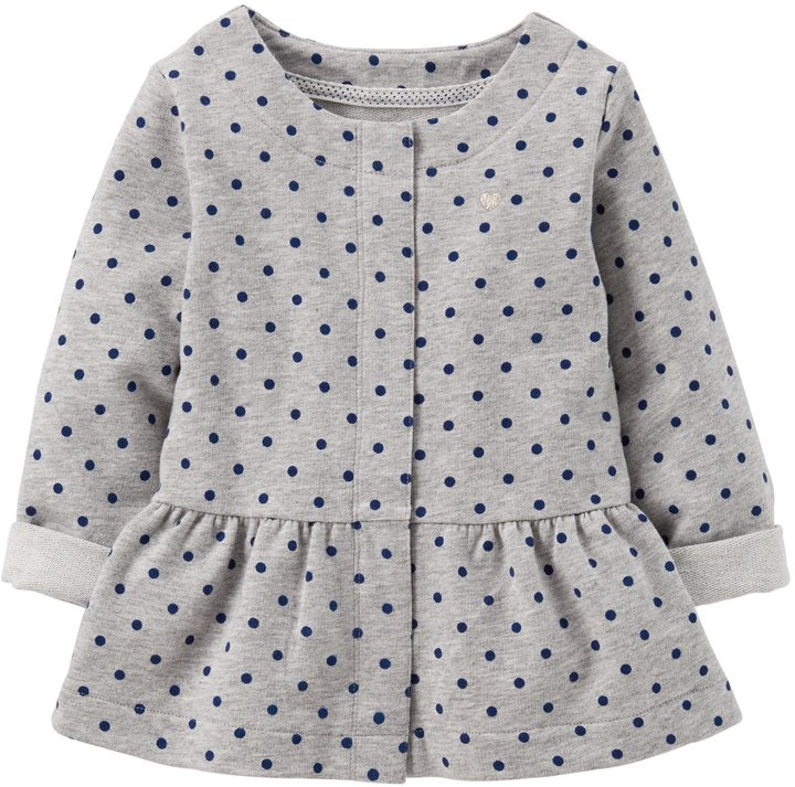 Carter's Dotted Knit Cardigan (Baby) - Gray-3 Months