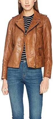 Naf Naf Women's CUBA Leather Jacket, Rouge (Cognac), (Manufacturer Size: )