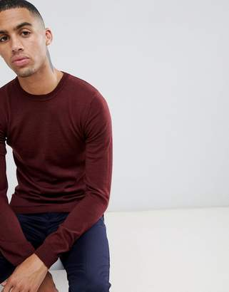 Asos DESIGN Muscle Fit Merino Wool Sweater In Burgundy