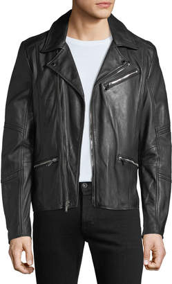 Karl Lagerfeld Paris Men's Leather Zip Pocket Moto Jacket