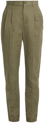A.P.C. Lena slim-leg cotton-blend gabardine trousers $223 thestylecure.com