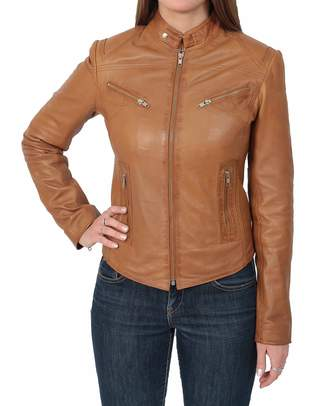 House of Leather Ladies Genuine Leather Biker Style Slim fit Casual Jacket Khloe